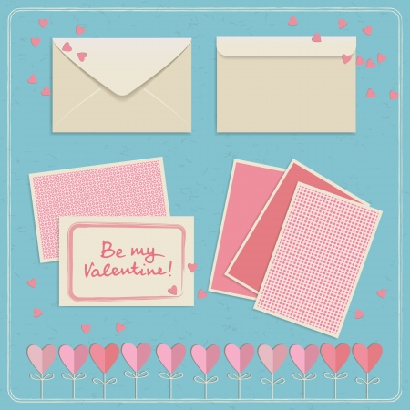 Set of doodle envelopes with gift cards for Valentine s day  Vector illustration Vector
