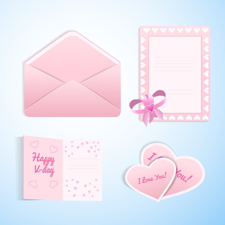 Set of doodle envelope with gift cards for Valentine s day   Stock Vector - 17010749