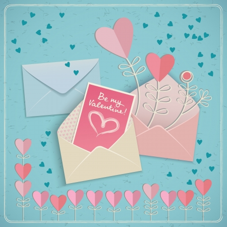 Valentine s day gift card with three envelopes  Vector illustration Stock Vector - 17010756