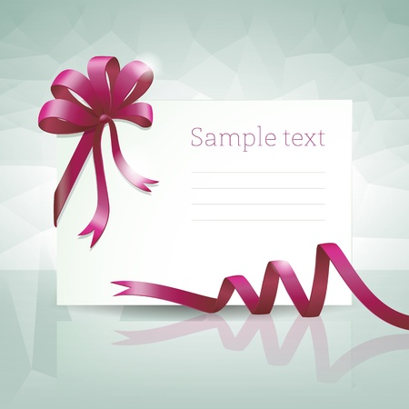 Greeting card with ribbon and bow  Vector illustration  Vector