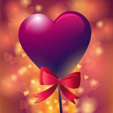 Red heart-shaped lollipop with ribbon  Vector illustration  Vector