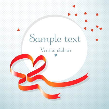 Gift card with red heart ribbon Stock Vector - 17050886