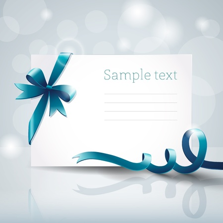 Greeting card with ribbon and bow Stock Vector - 17205615