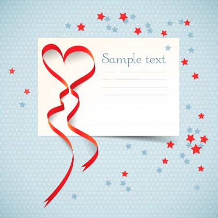 Gift card with red heart ribbon Stock Vector - 17205612