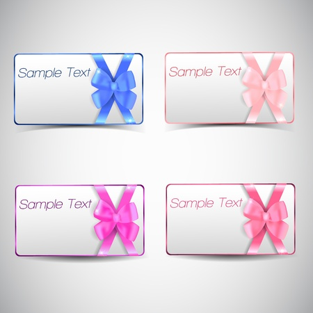 Set of gift cards with bow Stock Vector - 17205625