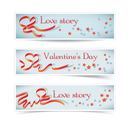 Set of horizontal banners with red heart ribbon Stock Vector - 17205619