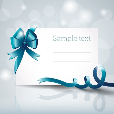 Greeting card with ribbon and bow Vector