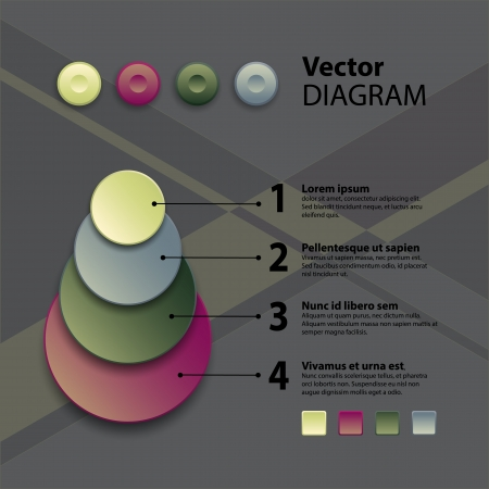 Business diagram template with text fields  Vector illustration  Vector