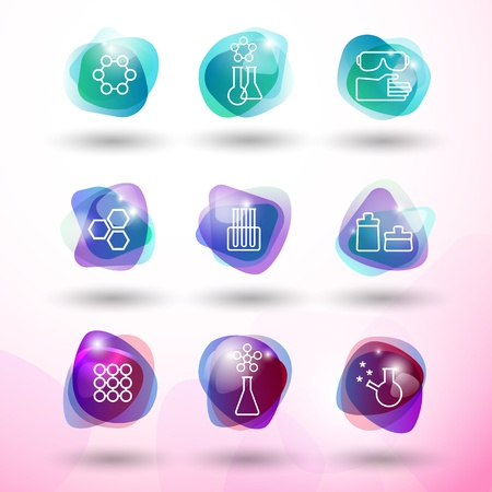 Chemistry icons set   Illustration,   contains transparencies  Vector