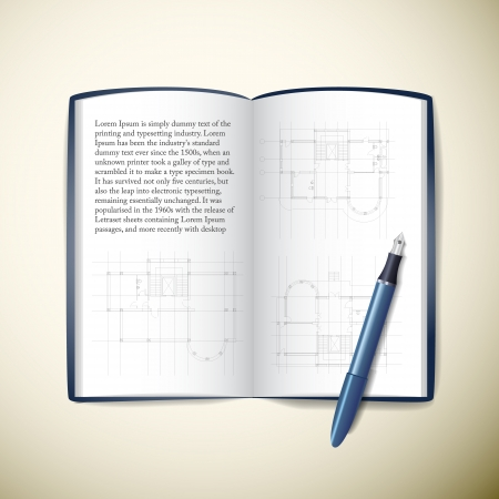 architect drawing: Architect s paper with technical drawing and pencils  Vector Illustration, contains transparencies  Illustration