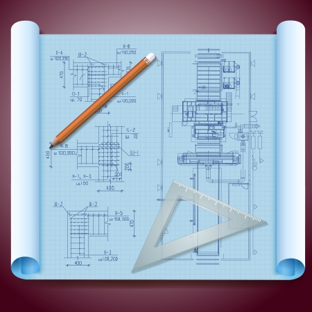 Architect s paper with technical drawing and pencils  Vector Illustration, contains transparencies  Vector
