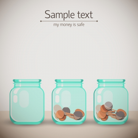 Glass jars for tips with money  Doodle backgroung Illustration, contains transparencies  Vector