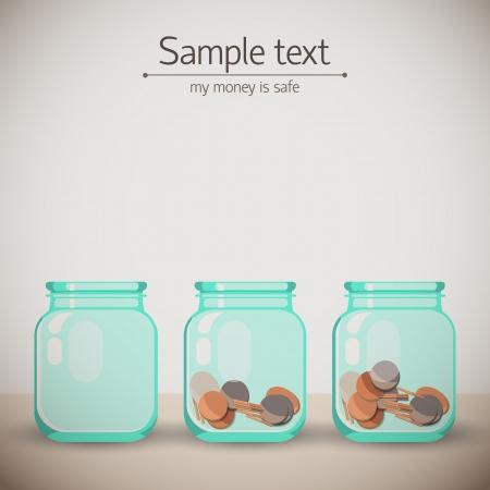 pensioen: Glazen potten voor tips met geld Doodle backgroung Illustratie, bevat transparanten Stock Illustratie