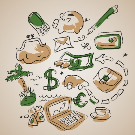 Doodle business background with financial symbol  Illustration, contains transparencies  Vector