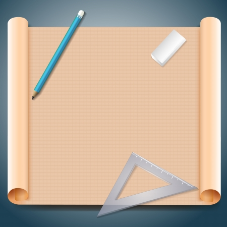 architect drawing: Architect s paper with technical drawing and pencils  Illustration, contains transparencies  Illustration