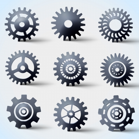 icon set of gears  Illustration, contains transparencies  Stock Vector - 17511002