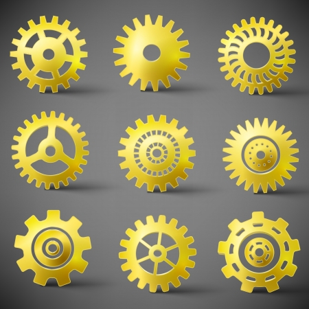 icon set of gears   Illustration, contains transparencies  Vector
