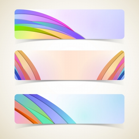 Abstract horizontal banners set  Vector banners or headers  Vector Illustration, contains transparencies  Stock Vector - 17631054