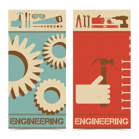 Industrial abstract banners set  Vector Illustration, contains transparencies  Vector