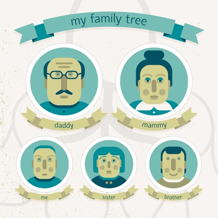 Family tree in doodle style  Vector Illustration, eps10, contains transparencies  Vector
