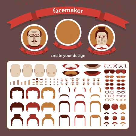 Doodle faces pazzle  Vector Illustration, eps10, contains transparencies  Vector