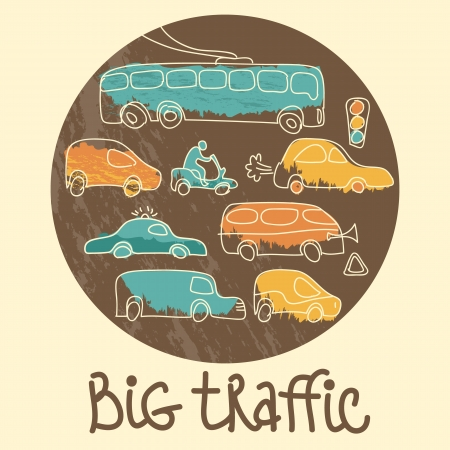 Transportation Doodle Background Vector