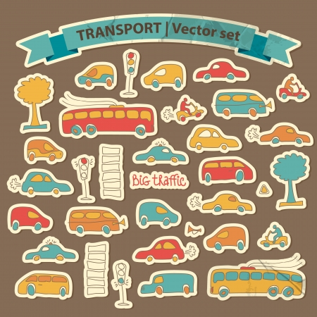 with sets of elements: Transportation Doodle Background  Vector Illustration, eps10, contains transparencies  Illustration