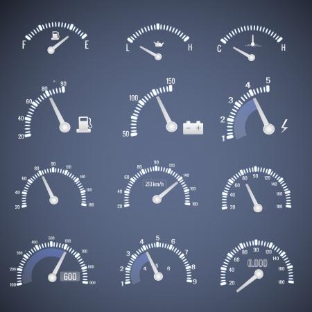 gagant: Compteur de vitesse d'interface Vector ic�nes Illustration, eps10, contient les transparents