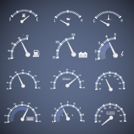 mile: Speedometer interface icons  Vector Illustration, eps10, contains transparencies