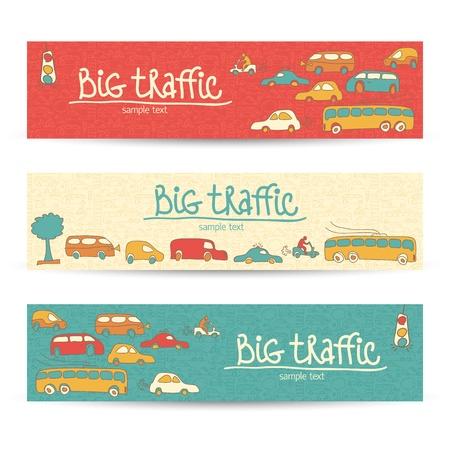camion caricatura: Transporte Doodle Ilustraci�n Vector banners, eps10, contiene transparencias