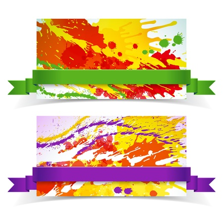 Abstract artistic Banners with ribbon  Vector Illustration, eps10, contains transparencies  Stock Vector - 17910515