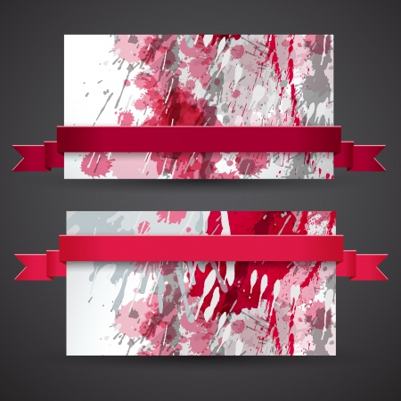 art painting: Abstract artistic Banners with ribbon  Vector Illustration, eps10, contains transparencies