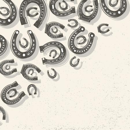 hooves: Ferri di cavallo sfondo illustrazione vettoriale, eps10, contenente i lucidi