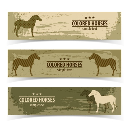 Horse banners set  Vector Illustration, eps10, contains transparencies  Vector