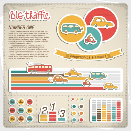 Vintage infographics set  Vector Illustration, eps10, contains transparencies  Vector