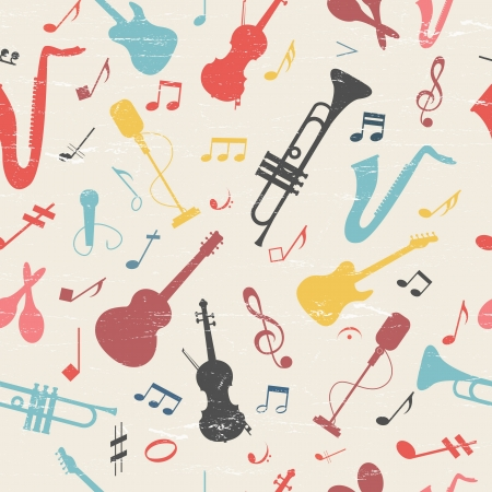 Colorful music seamless pattern Illustration, contains transparencies  Vector