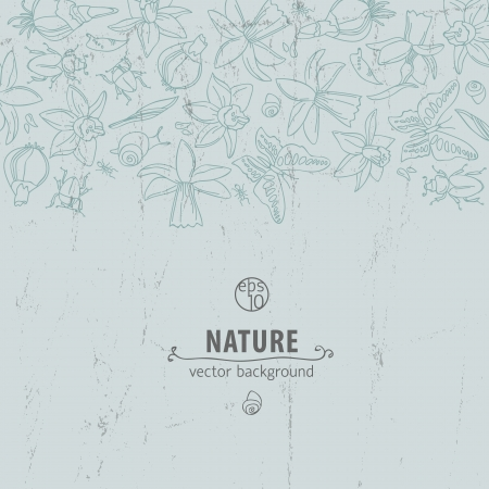 Hand drawn doodle flowers background   Illustration,  contains transparencies  Vector