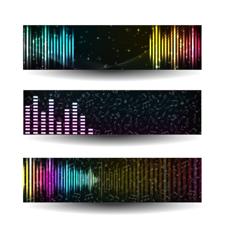 popular music: Colorful music sbanners set Illustration,  contains transparencies  Illustration