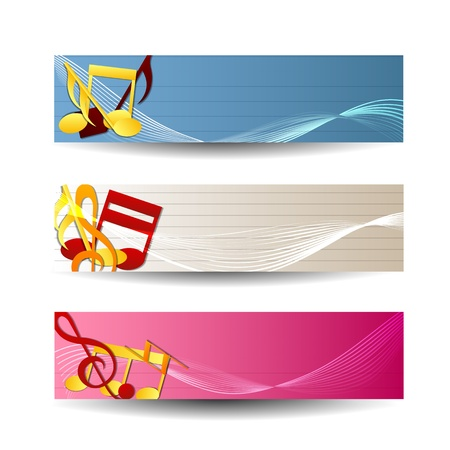 Colorful music sbanners set Illustration,  contains transparencies  Vector