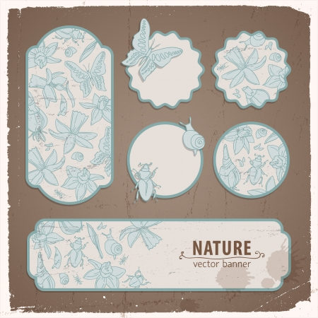 Hand drawn doodle flowers Flowers banners set Illustration, contains transparencies  Vector