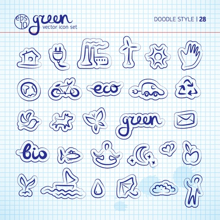 Ecology doodle icons set Illustration,  contains transparencies  Vector