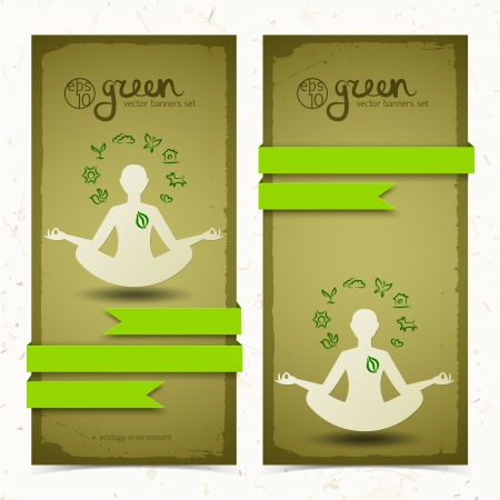 Nature abstract eco banners set  Vector Illustration, contains transparencies  Vector