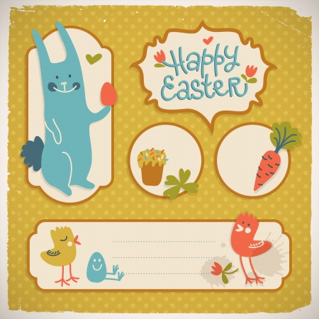 Happy easter doodle card  Vector Illustration, eps 10, contains transparencies  Vector