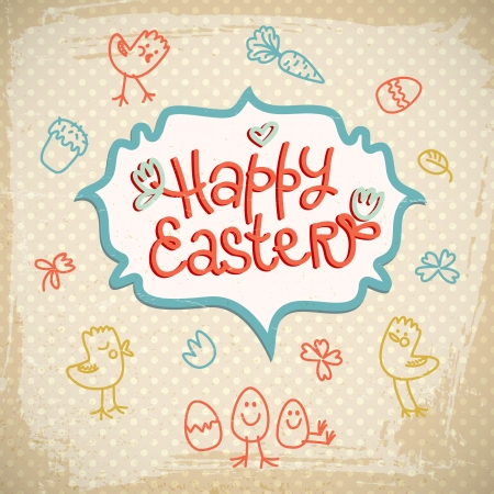 Happy easter doodle card  Vector Illustration, eps 10, contains transparencies  Stock Vector - 18736971