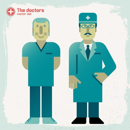 Hand drawn doctors  Vector Illustration, eps 10, contains transparencies  Vector