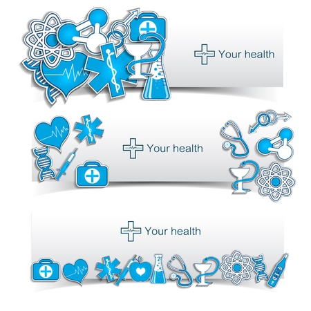 hypodermic: Medical banners set with icons