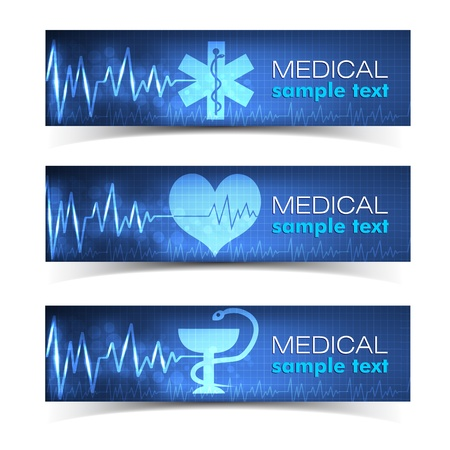 Conjunto de banners Medical Illustration Vector, eps 10, contiene las transparencias