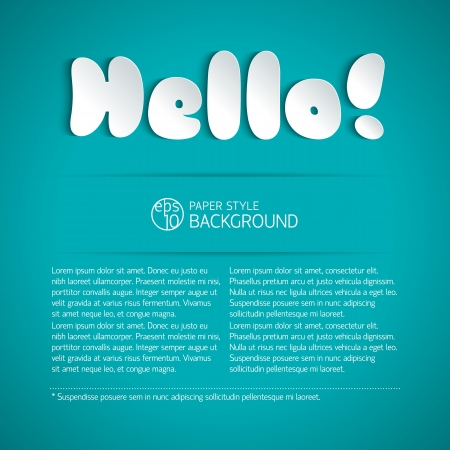 Hello signature cut from paper Illustration,  contains transparencies  Stock Vector - 19315264