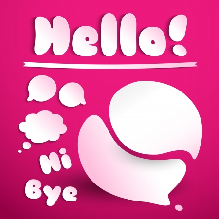 Hello signature cut from paper  Illustration,  contains transparencies  Vector