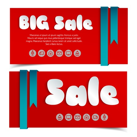 Sale cards in paper style Illustration, contains transparencies  Vector